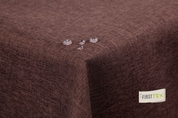 Tischdecke Leinenoptik Lotuseffekt abwaschbar mit gerader Saumkante 220 rund in dunkelbraun