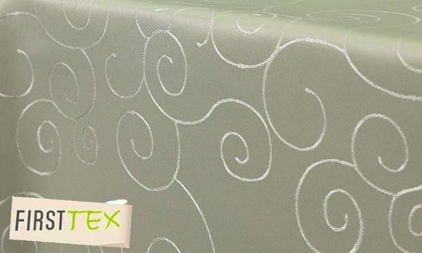 First-Tex, Ornament Damast Tischdecke, eckig, 135x200 cm, hellgrün, Pflegeleicht, Hochwertig, Bügela