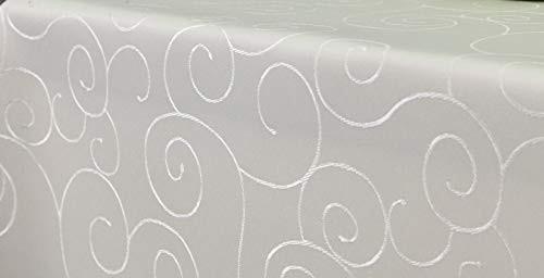 First-Tex, Ornament Damast Tischdecke, 135x180 cm, oval, Creme, Pflegeleicht, Hochwertig, Bügelarm,
