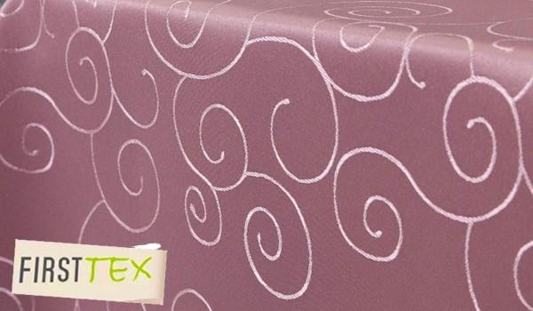 First-Tex Ornament Damast Tischdecke eckig, 160x160 cm, rosa, Pflegeleicht, Hochwertig, Bügelarm, Sc