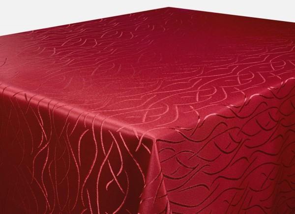 Tischdecke bordeaux Rund 135 cm in glanzvoller Streifenoptik Pflegeleicht Hochwertig Bügelarm Schnel