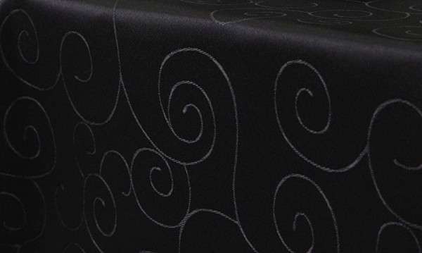 First-Tex, Ornament Damast Tischdecke, 160x220cm, oval, schwarz, Pflegeleicht, Hochwertig, Bügelarm