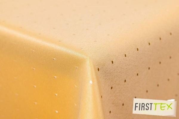 Punkte Damast Tischdecke von First-Tex 110x140 cm gelb Pflegeleicht, Hochwertig, Bügelarm, Schnelltr