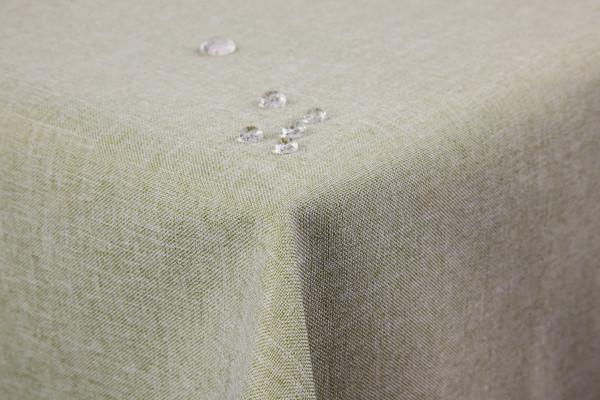 Tischdecke Leinenoptik Lotuseffekt abwaschbar mit gerader Saumkante110x220 eckig in hellgrün