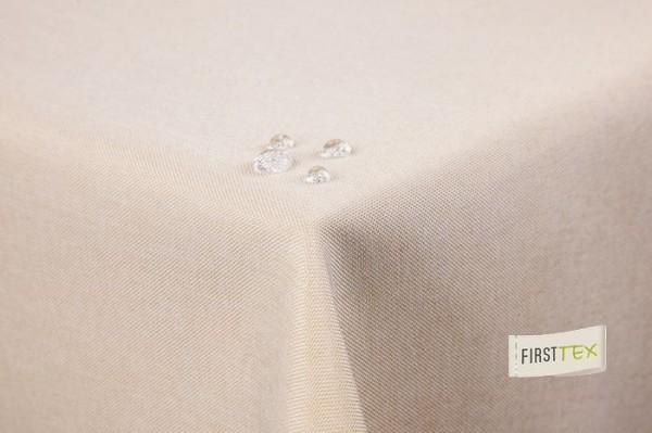 Tischdecke Leinenoptik Lotuseffekt abwaschbar mit gerader Saumkante 140 rund in sand hellbraun