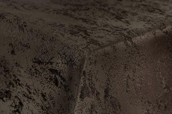 First-Tex Tischdecke Damast Jacquard Brilliant Meliert 160 rund in dunkelbraun mit gerader Saumkante