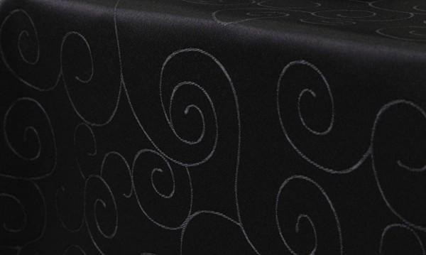 First-Tex, Ornament Damast Tischdecke, 135x180 cm, oval, schwarz, Pflegeleicht, Hochwertig, Bügelarm