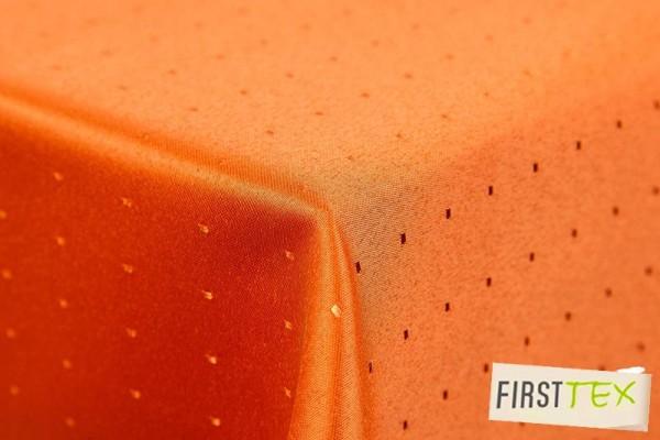 Punkte Damast Tischdecke,135 cm,rund,von First-Tex,Terracotta,Pflegeleicht,Hochwertig,Bügelarm,Schne