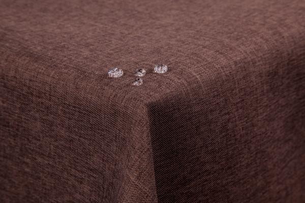 Tischdecke Leinenoptik Lotuseffekt abwaschbar mit gerader Saumkante110x180 eckig in dunkelbraun