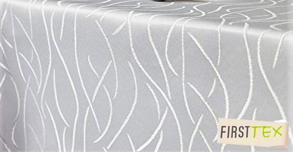 First-Tex Streifen-Muster Tischdecke 135 cm rund champagner Pflegeleicht
