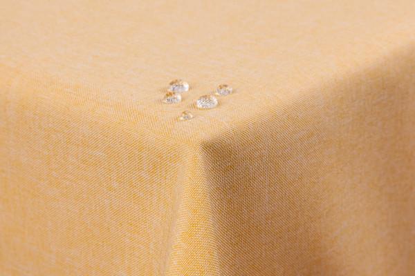 Tischdecke Leinenoptik Lotuseffekt abwaschbar mit gerader Saumkante110x180 eckig in gelb