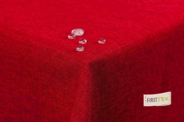 Tischdecke Leinenoptik Lotuseffekt abwaschbar mit gerader Saumkante 220 rund in rot