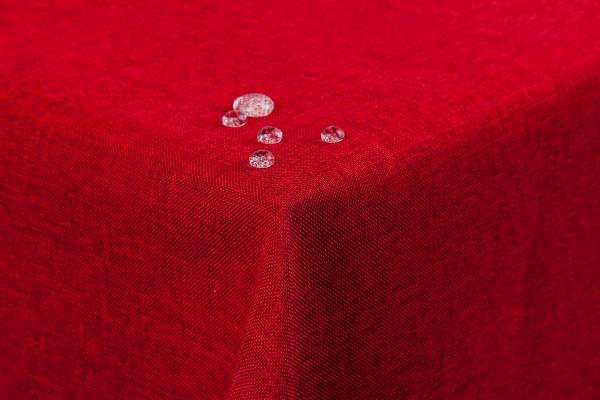Tischdecke Leinenoptik Lotuseffekt abwaschbar mit gerader Saumkante110x110 eckig in rot