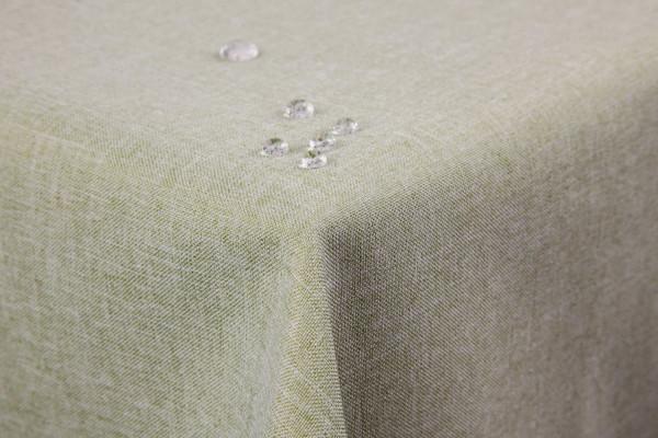 First-Tex Tischdecke Leinenoptik Lotuseffekt abwaschbar mit gerader Saumkante 160 rund in hellgrün