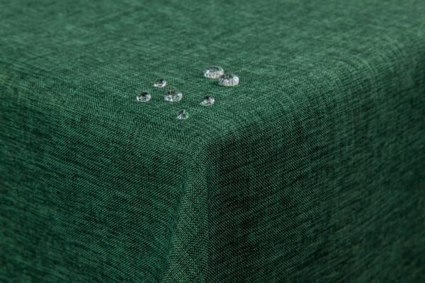 Tischdecke Leinenoptik Lotuseffekt abwaschbar mit gerader Saumkante135x180 eckig dunkelgrün