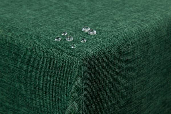 Tischdecke Leinenoptik Lotuseffekt abwaschbar mit gerader Saumkante 160x160 eckig in dunkelgrün
