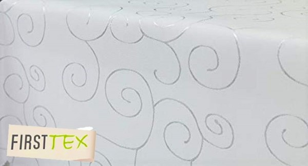 First-Tex Ornament Damast Tischdecke eckig 130x220 cm weiß Pflegeleicht Hochwertig, Bügelarm, Schnel