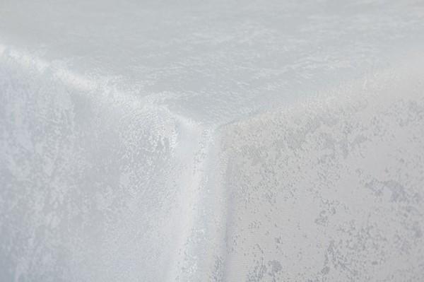 First-Tex Tischdecke Damast Jacquard Brilliant Meliert 160x220 oval in weiß mit gerader Saumkante