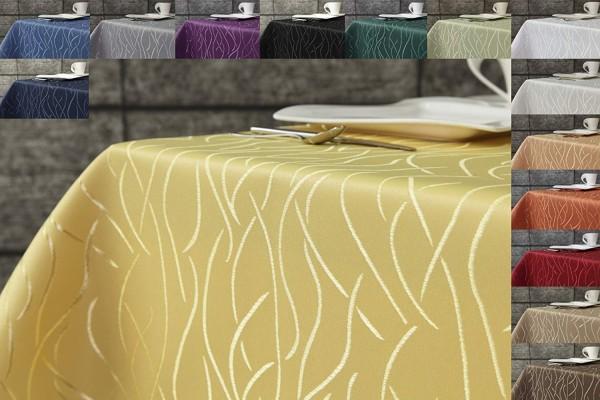 Tischdecke gelb 160x400 cm eckig in glanzvoller Streifenoptik Pflegeleicht Hochwertig Bügelarm Schne