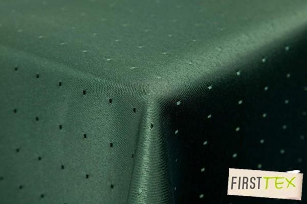 Punkte Damast Tischdecke von First-Tex 130x260 dunkelgrün, Pflegeleicht, Hochwertig, Bügelarm, Schne