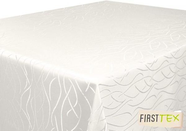 Tischdecke champagner 130x220 eckig in glanzvoller Streifenoptik von First-Tex Pflegeleicht