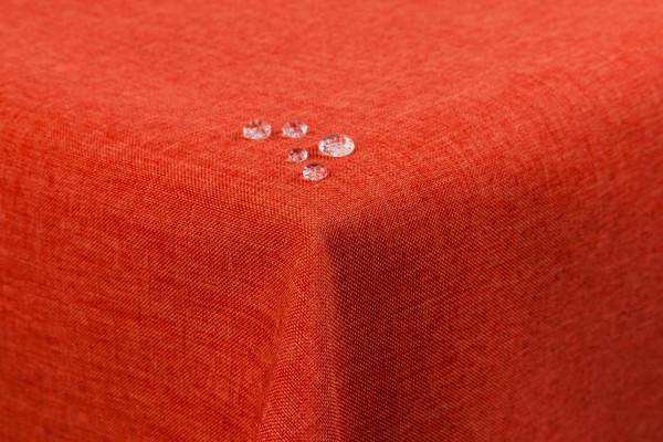 First-Tex Tischdecke Leinenoptik Lotuseffekt 135x180 eckig terracotta/orange
