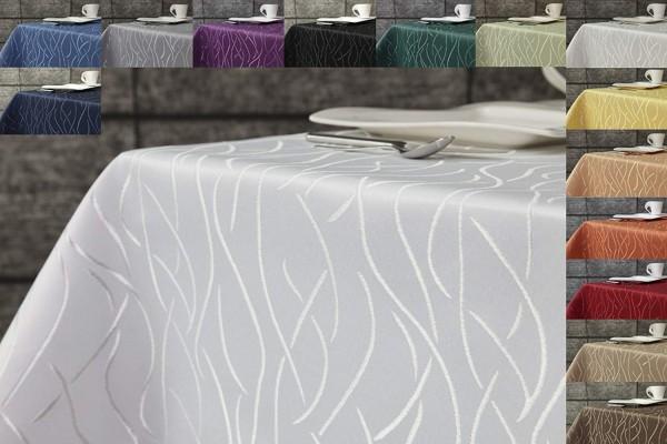 Tischdecke weiß 110x140 ceckig in glanzvoller Streifenoptik von First-Tex, Pflegeleicht, Hochwertig