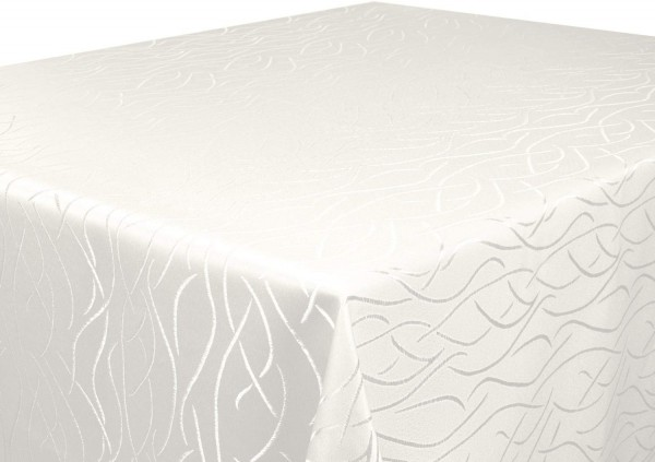 Tischdecke creme 160x220 cm eckig in glanzvoller Streifenoptik, Pflegeleicht, Hochwertig, Bügelarm,