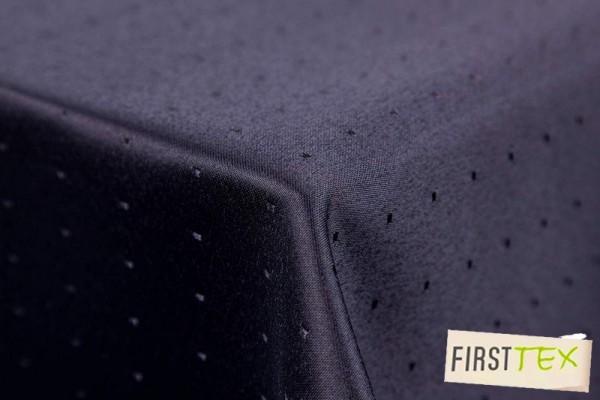 Punkte Damast Tischdecke von First-Tex 110x110 cm schwarz,Pflegeleicht, Hochwertig, Bügelarm, Schnel